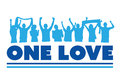 One love with cheering crowd vector Royalty Free Stock Photo
