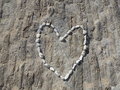 One love heart made of beach pebbles Stock Photography
