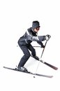 One male skier skiing with full equipment on a white background Stock Image