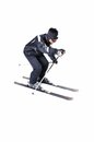 One male skier skiing with full equipment on a white background Royalty Free Stock Photo