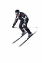 One male skier skiing with full equipment on a white background Royalty Free Stock Image