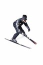 One male skier skiing without sticks on a white background Stock Photos