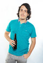 One man with beer bottle Royalty Free Stock Photo