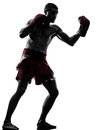 One man exercising thai boxing silhouette caucasian in studio on white background Stock Image