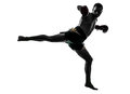One man exercising thai boxing silhouette caucasian in studio on white background Stock Photos