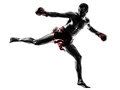 One man exercising thai boxing silhouette caucasian in studio on white background Stock Photo