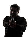 One man killer policeman aiming gun silhouette studio white background Stock Photography