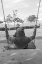 One man swing feel alone black and white Royalty Free Stock Images