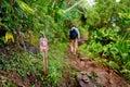 One mile sign on kalalau trail in kauai hawaii Royalty Free Stock Images