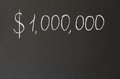 One million dollars inscription in chalk on a blackboard Stock Photos