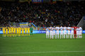 A one minute silence photo was taken during the euro play off soccer match between the national football teams of ukraine and Royalty Free Stock Images