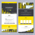 One page website design with yellow city scene template background Stock Image