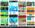 One page website flat UI design template SET 1. Royalty Free Stock Photo