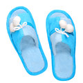 Domestic blue slippers Royalty Free Stock Photo