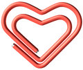 One paperclip heart in the shape isolated on white background Royalty Free Stock Photography
