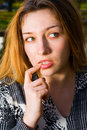 One pensive creative woman Royalty Free Stock Photos