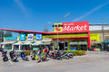 One of phuket s many big c market shopping centers thailand jan main entrance to with promotional display tents along Royalty Free Stock Images
