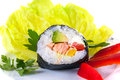 One piece of sushi on decorated plate isolated white background Royalty Free Stock Photography