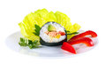 One piece of sushi on decorated plate isolated white background with clipping path Royalty Free Stock Image