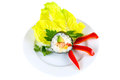 One piece of sushi on decorated plate isolated white background with clipping path Royalty Free Stock Images