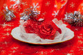 One plate with boutonniere and tinsel Royalty Free Stock Photo