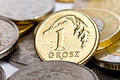 One Polish grosz coin Royalty Free Stock Photography