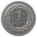One polish zloty coin isolated on white background Stock Photography