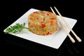 One portion of rice japanese on rectangular plate Royalty Free Stock Photo