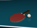 One racket with a ball on a table tennis the red side without any brand Stock Image