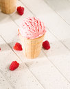 One raspberry ice cream from top on white wooden background Stock Image