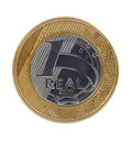 One real coin single brazilian on white background Royalty Free Stock Photos