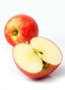 One red apple and slice Royalty Free Stock Photo