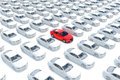 One red car with hundreds white Stock Photos