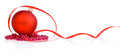 One red christmas ball, beads and tape Isolated Royalty Free Stock Photography