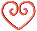 One red paperclip heart plastic in the shape isolated on white background Royalty Free Stock Photography