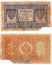 One ruble ruble of old paper russian money scan obverse and reverse the empire Royalty Free Stock Image