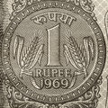 One rupee coin symbol on the note Royalty Free Stock Image