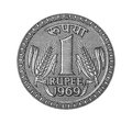 One rupee from note mark isolated currency Stock Images