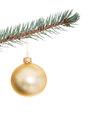 One separate christmas ball on christmas tree isolated white Stock Image