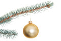 One separate christmas ball on christmas tree isolated white Royalty Free Stock Photos