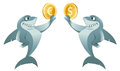 One shark holding dollar symbol and another shark holding euro