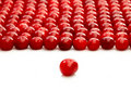 One single cherry and group of cherries Royalty Free Stock Photo