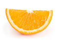 One slice of orange isolated on white background Stock Photos
