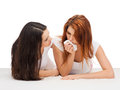 One teenage girl comforting another after break up friendship and happy people concept Royalty Free Stock Photo