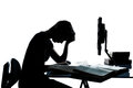 One teenager silhouette studying with computer Royalty Free Stock Photo