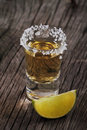 One tequila shot and lime Royalty Free Stock Images