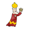 One of the three wise men retro cartoon with texture isolated on white Royalty Free Stock Photo