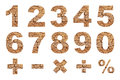 One to zero numbers and basic mathematical symbols made from dry cracked earth picture Stock Photography