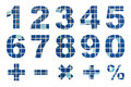 One to zero numbers and basic mathematical symbols made from mosaic tiles picture Royalty Free Stock Images