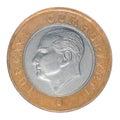 One turkish lira closeup isolated on white background Stock Image